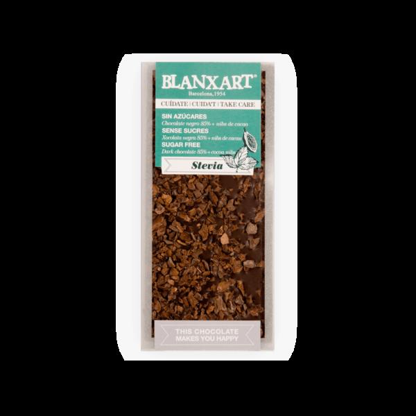 Chocolate 85% cacao con Nibs de cacao y Stevia (100g)